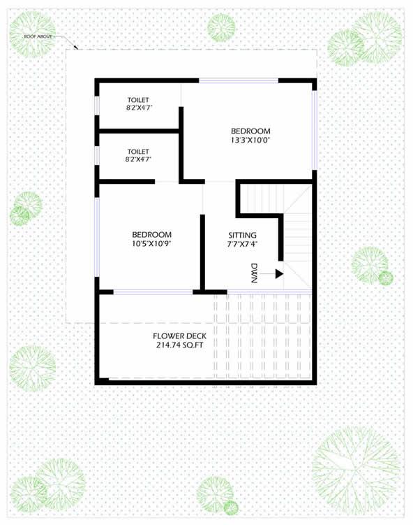 3BHK Elanza First Floor Plan
