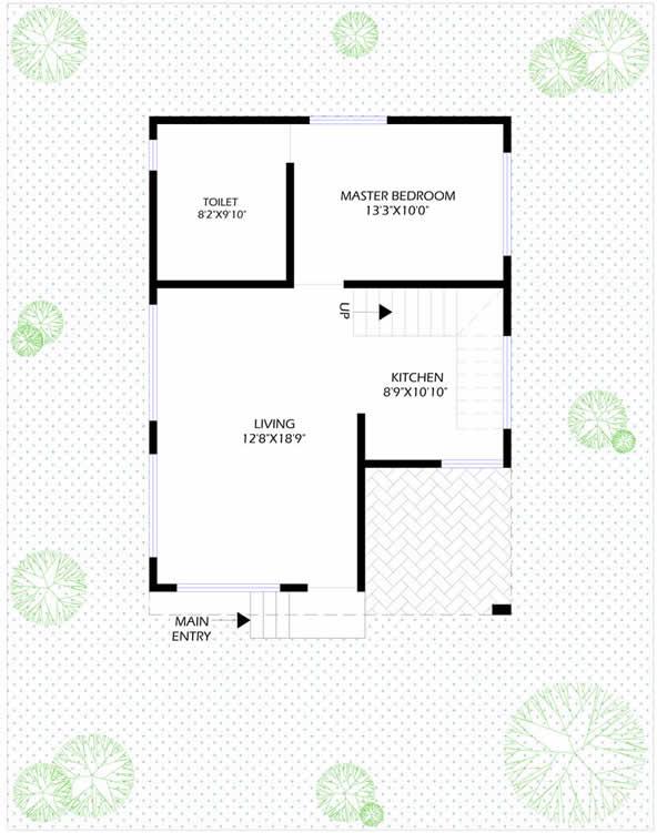 3BHK Elanza Ground Floor Plan